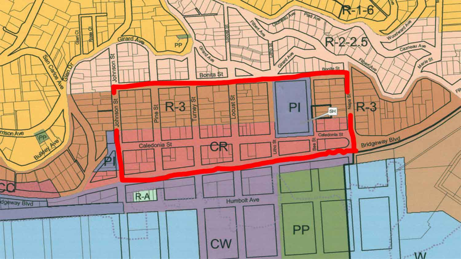 Zoomed in Zoning Map With New Boundaries